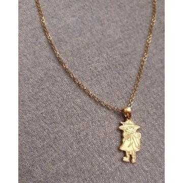 Nowy złocony srebrny choker Włóczykij Muminki