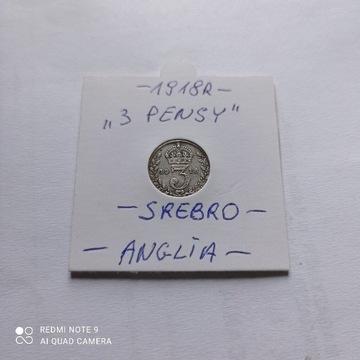 3 Pensy z 1918 roku, Anglia, SREBRO