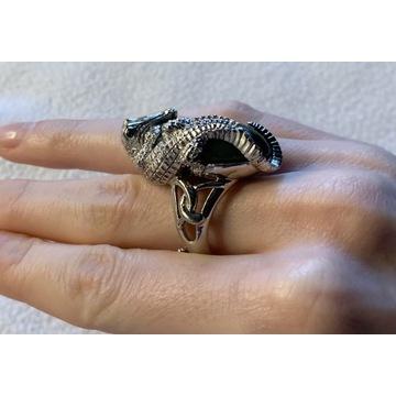 Olbrzym labradoryt pierścionek Ag pr.925 22g