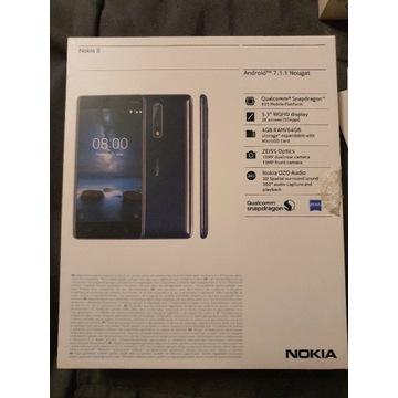 Nokia 8 Dual Sim niebieski błyszczący ANDROID