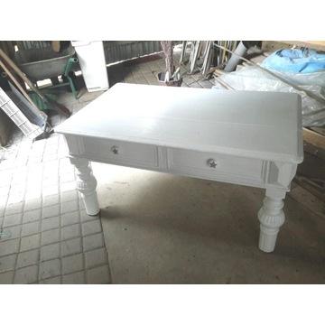 Stół/ława biały, 2 szuflady, tłoczone nogi
