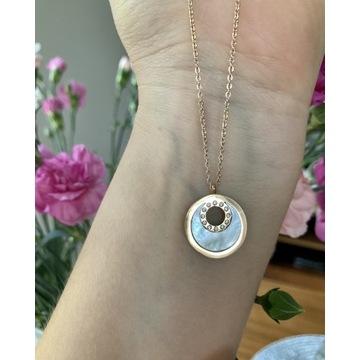 Naszyjnik stalowy z masą perłową Okrągła zawieszka