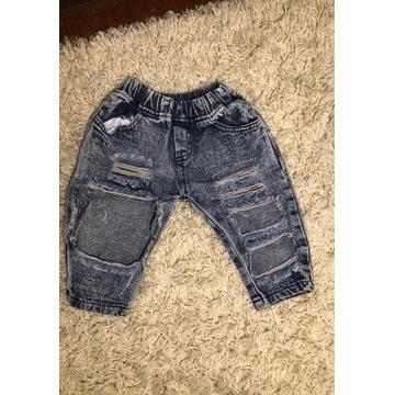 Spodnie jeansy jeansowe dziury podarte rozm. 80