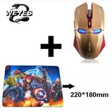 Mysz optyczna bezprzewodowa Iron Man i podkładka