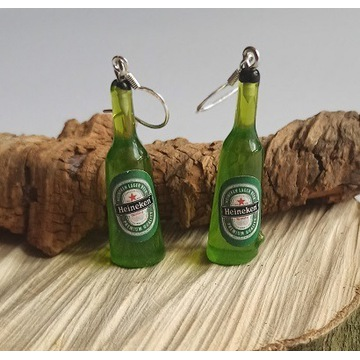 Kolczyki butelka piwa, Heineken, srebrne 925