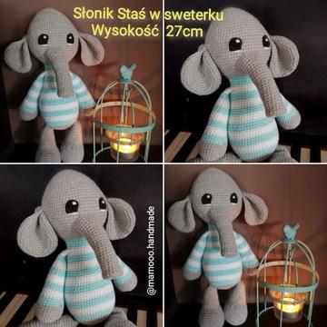 Słonik słoń szydełko rękodzieło ręcznie robione