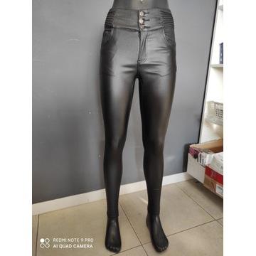 Spodnie ekoskóra czarne XS 34 woskowane