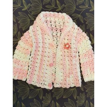 Sweterek dla dziewczynki - handmade (6-12 msc-y)