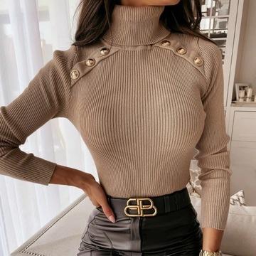 Sweter sweterek golf kobiecy guziki