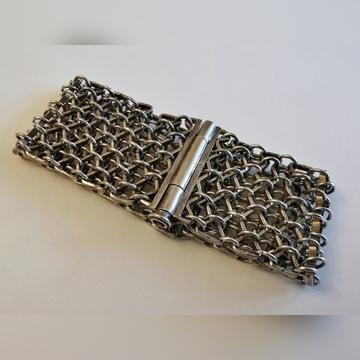 Piękna, duża srebrna bransoletka pr.925