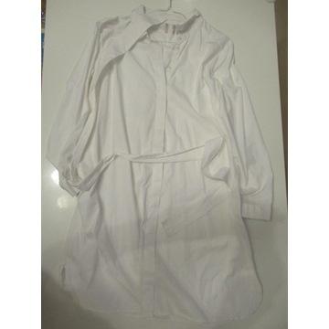 Sukienka koszula ciążowa z paskiem biała bawełna