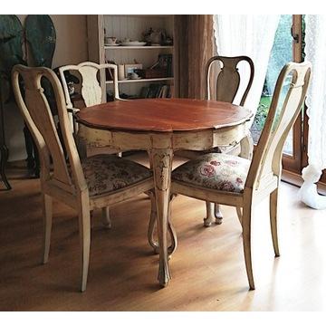 stół i krzesła rzeźbiony ludwikowski shabby chic