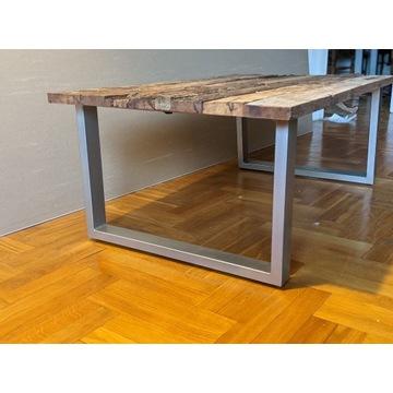 stolik kawowy VidalXL, stare drewno i stal, loft