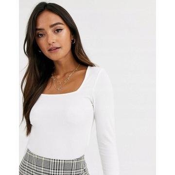 Biała bluzka prążki plus size 46