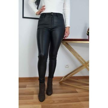 Spodnie damskie woskowane r.L 40 czarne nowe rurki