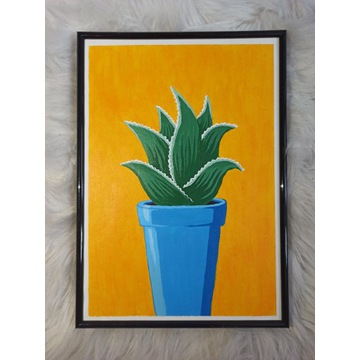 Obraz ręcznie malowany - Aloes w doniczce
