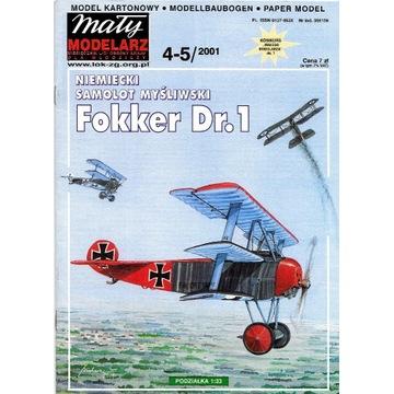 Mały Modelarz 4-5 2001 FOKKER Dr.1 1:33 samolot