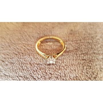 Pierścionek zaręczynowy złoto DIAMENT