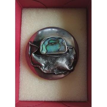 Broszka srebro srebrna 925 masa perłowa 12g