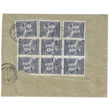 Koperta z 1951r z 9 znaczkami (rewers) nr 527.