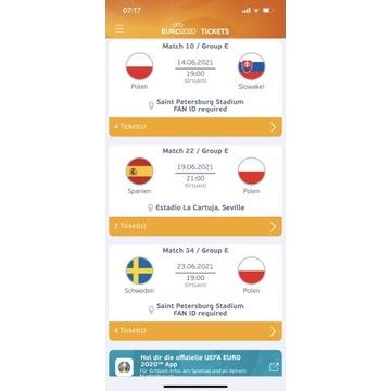 2 Bilety Euro 2020 Polska-Szwecja 23.06. Kat. 2
