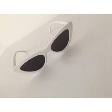 Białe okulary przeciwsłoneczne kocie oczy