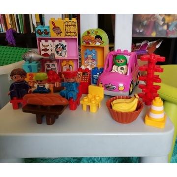 Lego Duplo sklep kasa jedzenie figurki auto