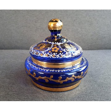 Bomboniera cukiernica niebieskie szkło złocenia