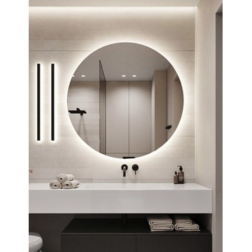 Lustro łazienkowe okrągle, podświetlane led! 80cm