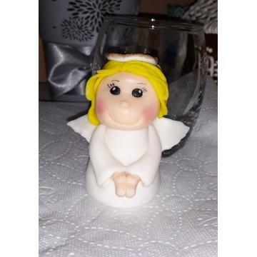 Aniołek na CHRZEST z masy cukrowej