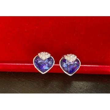 Kolczyki Swarovski kryształowe jasny fiolet