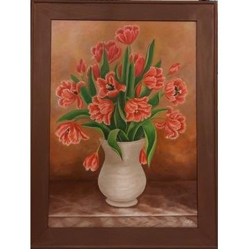 Obraz:Tulipany w wazonie, akryl na płótnie 70x50