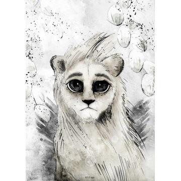 Plakat płótno naturalne lew pastelowy 50x70 duży