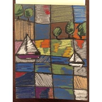Art naïve - Pejzaż op. 22 pastel olejny