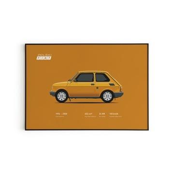 Plakat w SOLIDNEJ ramie MALUCH FIAT 126p EL 60x80