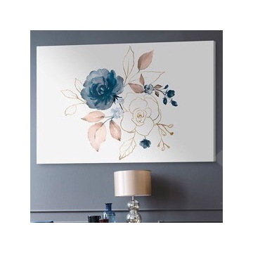 Obraz na płótnie - róże błękit złoto - 120x80 cm