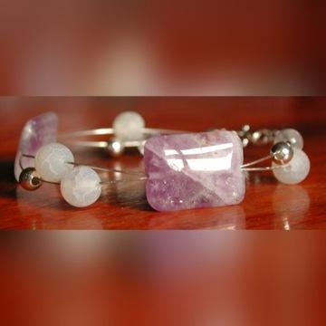 Srebrna bransoletka ametysty kryształ górski