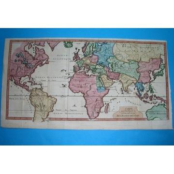 1748 PIĘKNA MAPA POLSKA EUROPA ŚWIAT oryginał