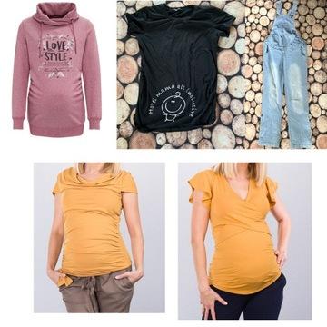 Ubrania ciążowe ogrodniczki, bluza i koszulki 40/L