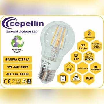 Żarówka LED Filament  4W.2700K, 400LM, Gwint  E27