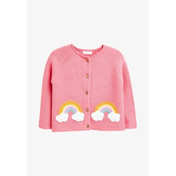 NEXT r. 3-4Y różowy cardigan sweter z tęczą NOWY