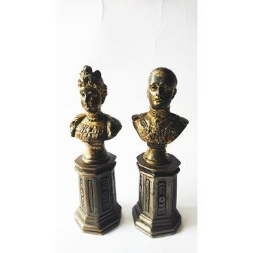 Józefina i Napoleon Dwa stare popiersia z brązu