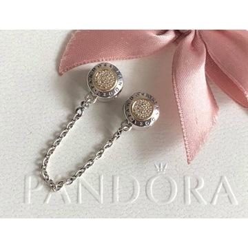 Pandora łańcuszek zabezpieczający tt z 14 K złotem