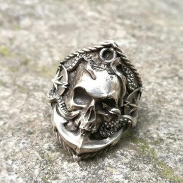 Gotycka czaszka ze stali nierdzewnej pierścień r13