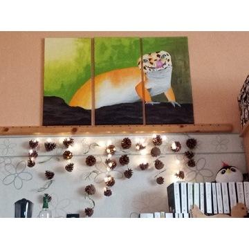 """Obraz malowany ręcznie """"Uśmiechnięty gekon"""""""