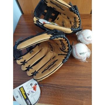 NOWY Zestaw baseballowy, 2x rękawice, 2x piłki