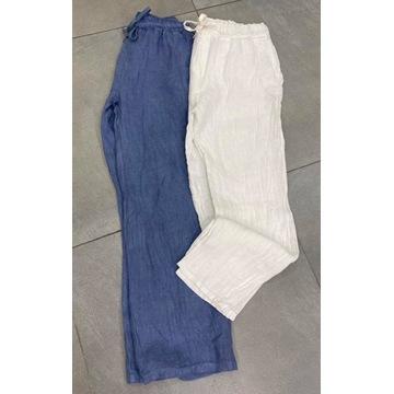 Nowość ! włoskie , białe lniane spodnie