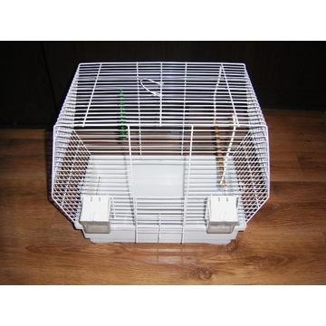 Klatka dla ptaków z akcesoriami, biała.