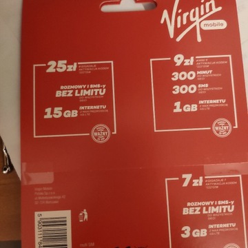 Złoty numer VIRGIN MOBILE +100gb!