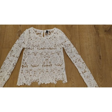 H&M śliczna biała bluzka haftowana koronka 34